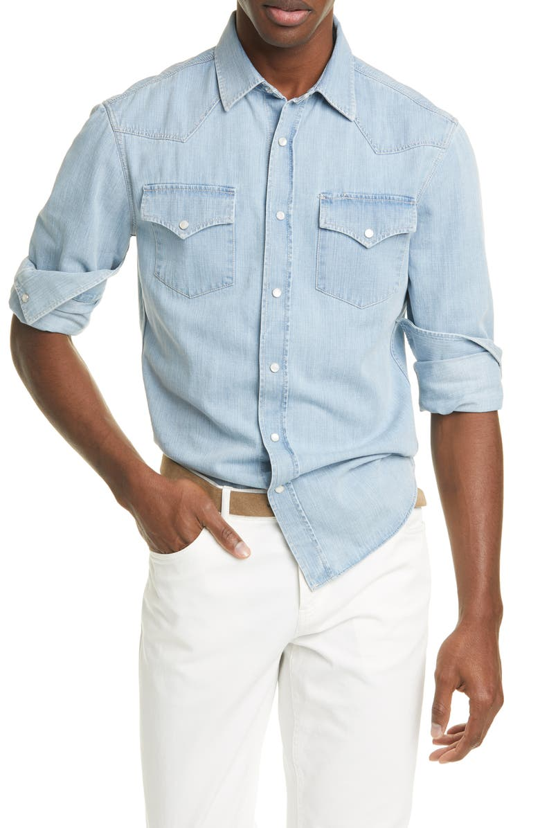 BRUNELLO CUCINELLI Leisure Fit Denim Western Shirt, Main, color, LIGHT WASH DENIM