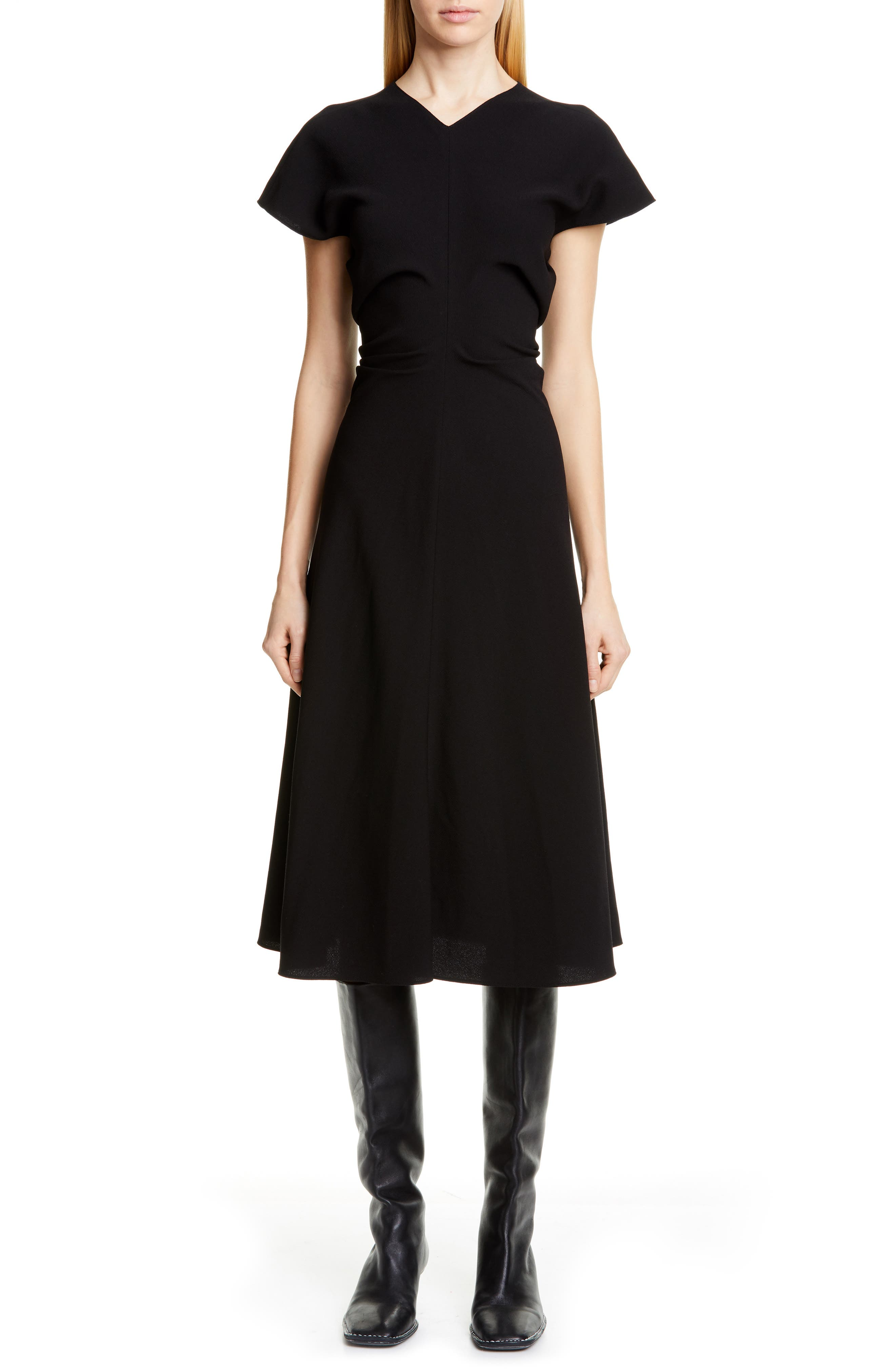 Proenza Schouler Ruched Waist Midi Dress, Black