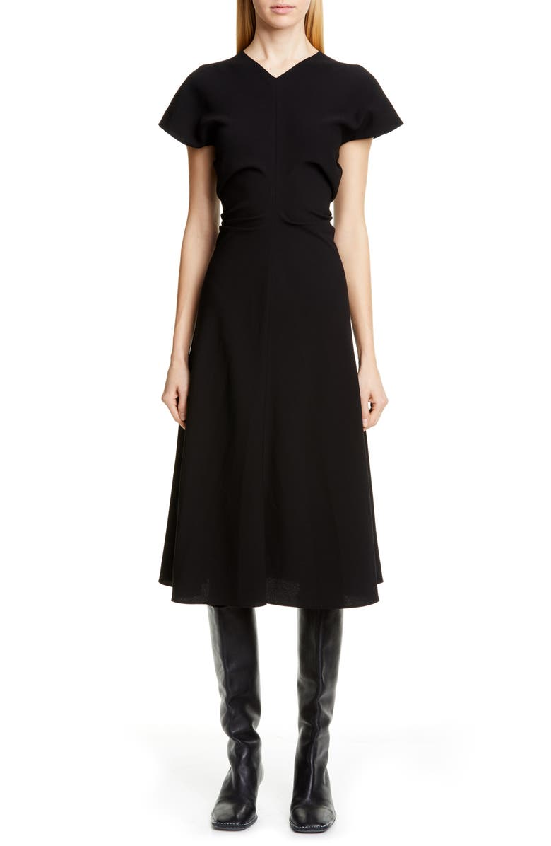 PROENZA SCHOULER Ruched Waist Midi Dress, Main, color, BLACK