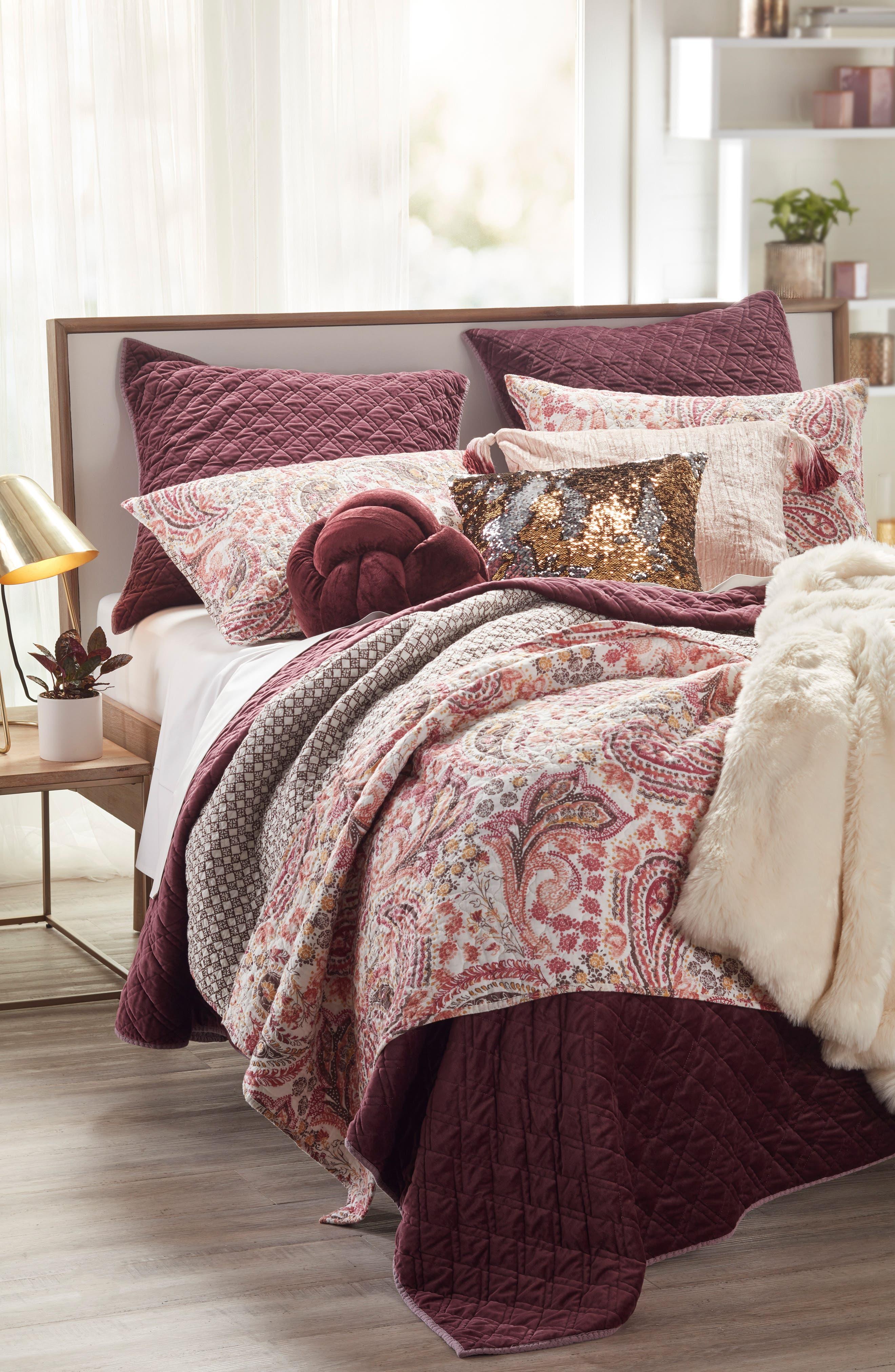,                             Tassel Crushed Velvet Accent Pillow,                             Alternate thumbnail 4, color,                             PINK HERO