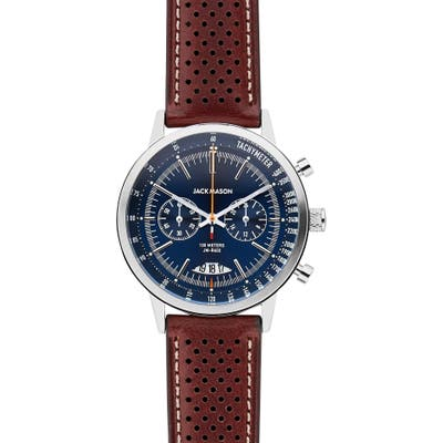 Jack Mason Racing Chronograph Leather Strap Watch, 40Mm