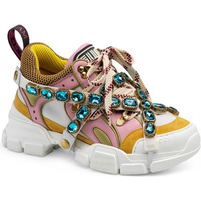 Gucci Flashtrek Jewel Embellished Sneaker, Pink