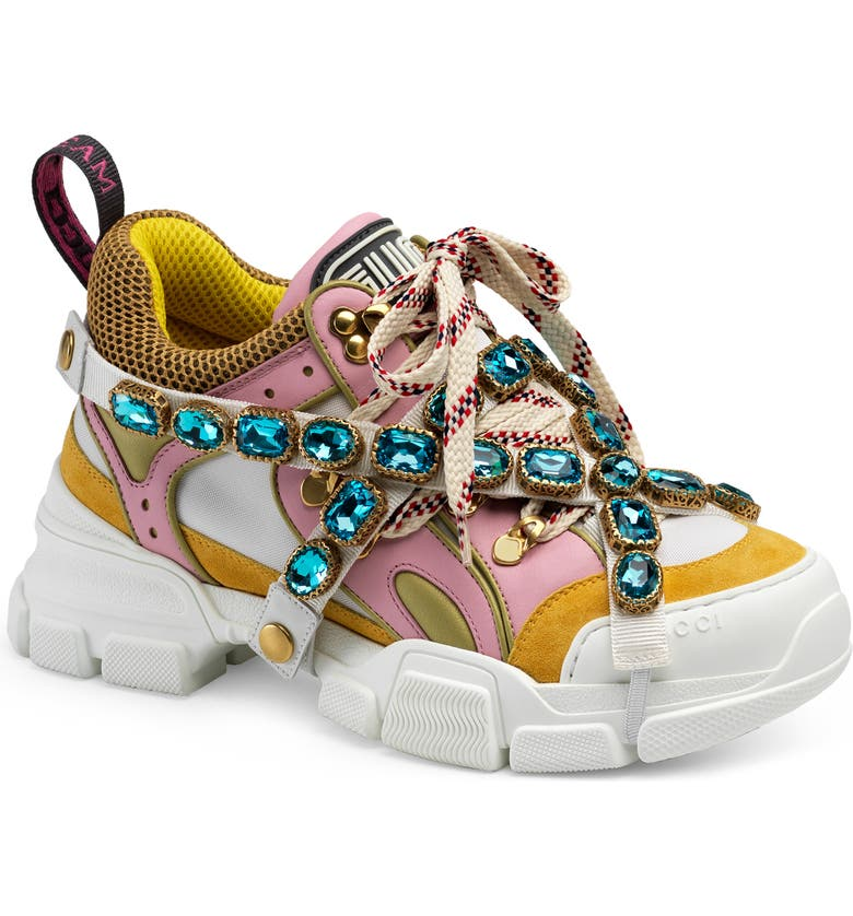 GUCCI Flashtrek Jewel Embellished Sneaker, Main, color, PINK/ YELLOW/ BLUE