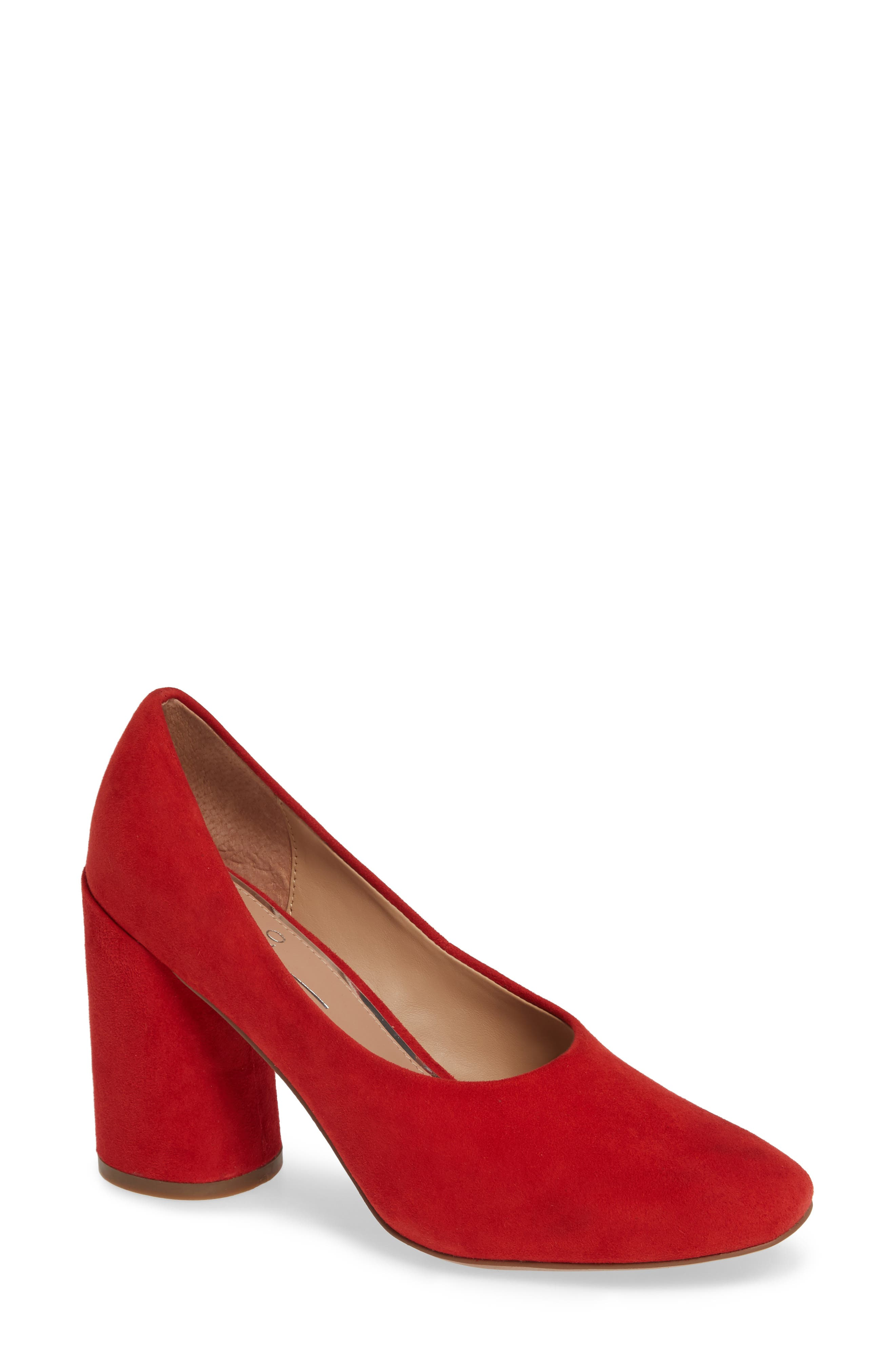 Linea Paolo Cherie Round Toe Pump, Red