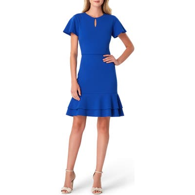 Tahari Keyhole Scuba Crepe Fit & Flare Dress, Blue