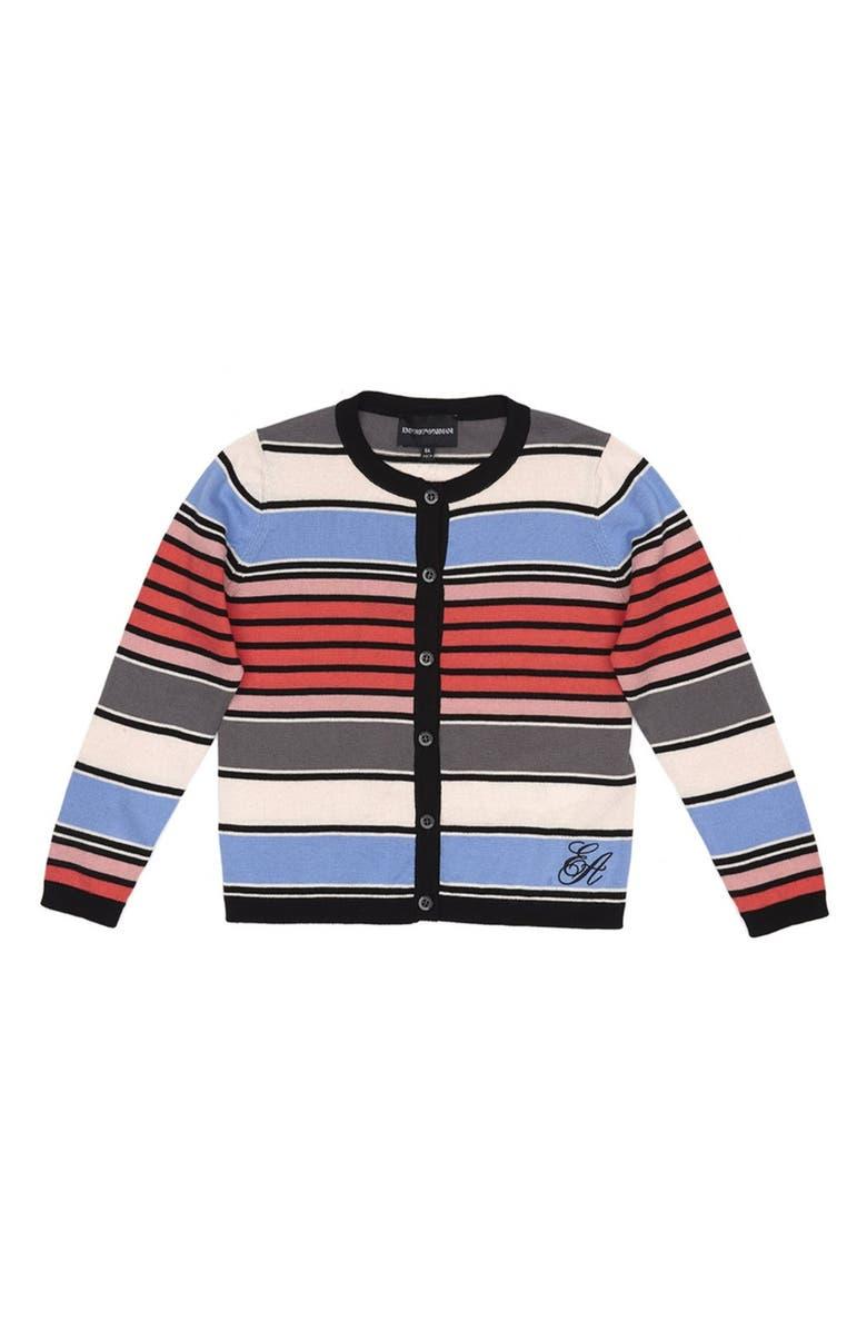 ARMANI JUNIOR Stripe Cardigan, Main, color, RIGA MULTICOL.