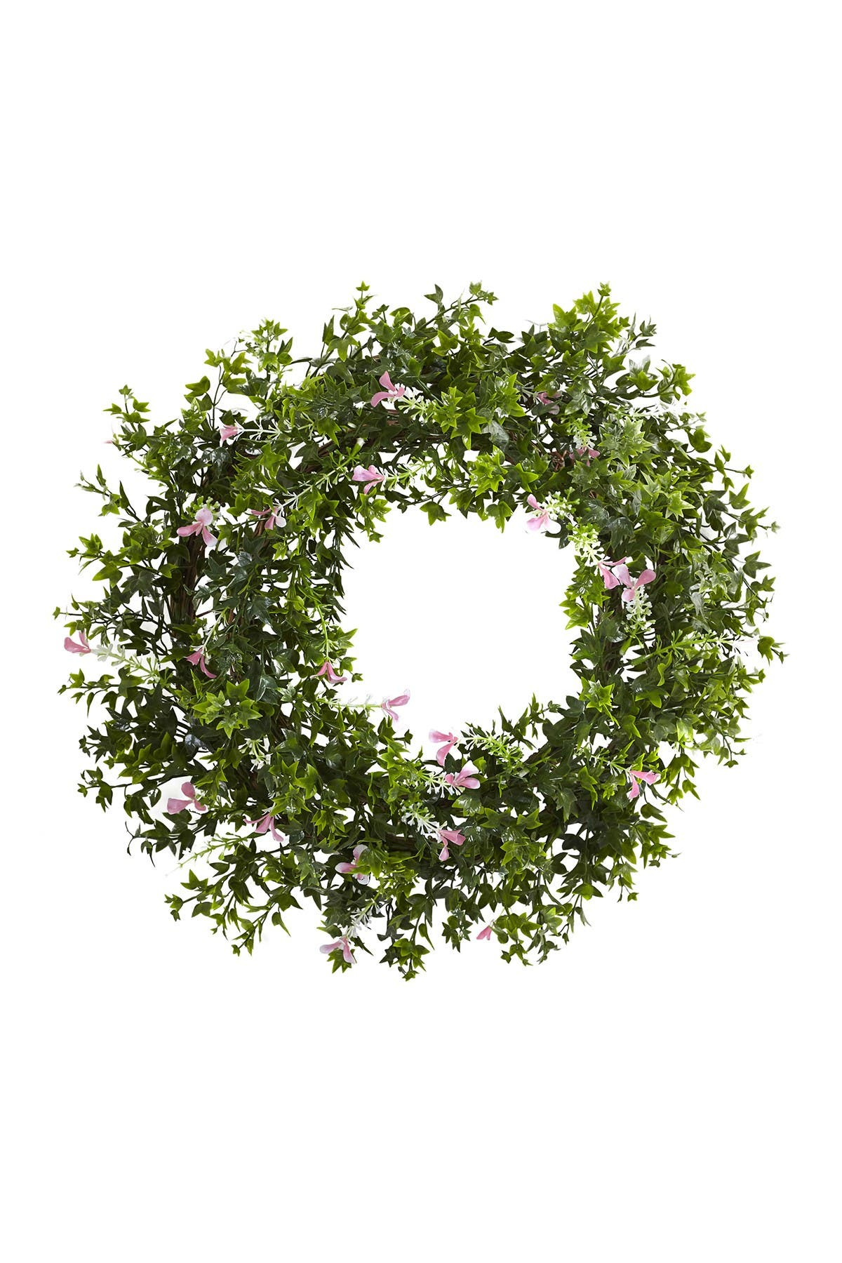 "Nearly Natural 18"" MINI IVY & FLORAL DOUBLE RING WREATH WITH TWIG BASE"