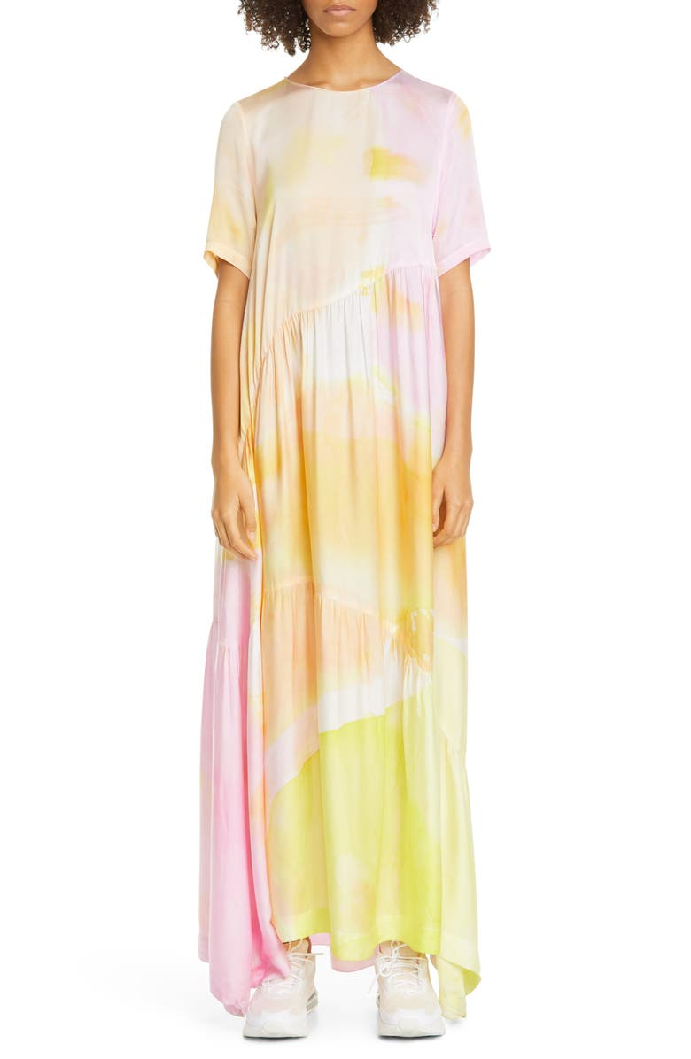 COLLINA STRADA Ritual Tie Dye Maxi Dress, Main, color, SUNSET ROSE PETAL