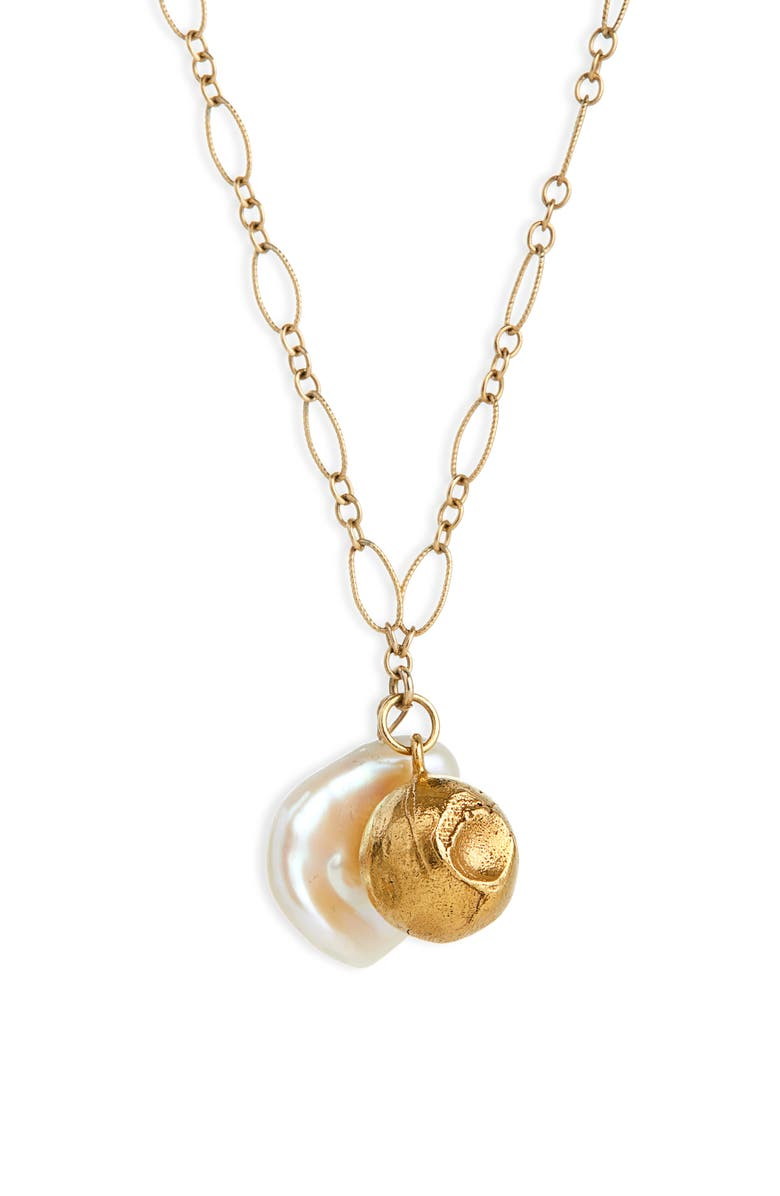 ALIGHIERI Moon Fever Freshwater Pearl Necklace, Main, color, GOLD PLATED