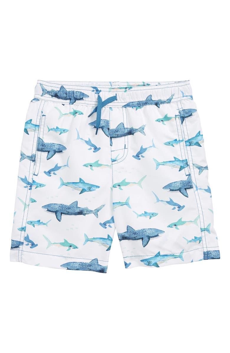 HATLEY Watercolor Sharks Swim Trunks, Main, color, 100