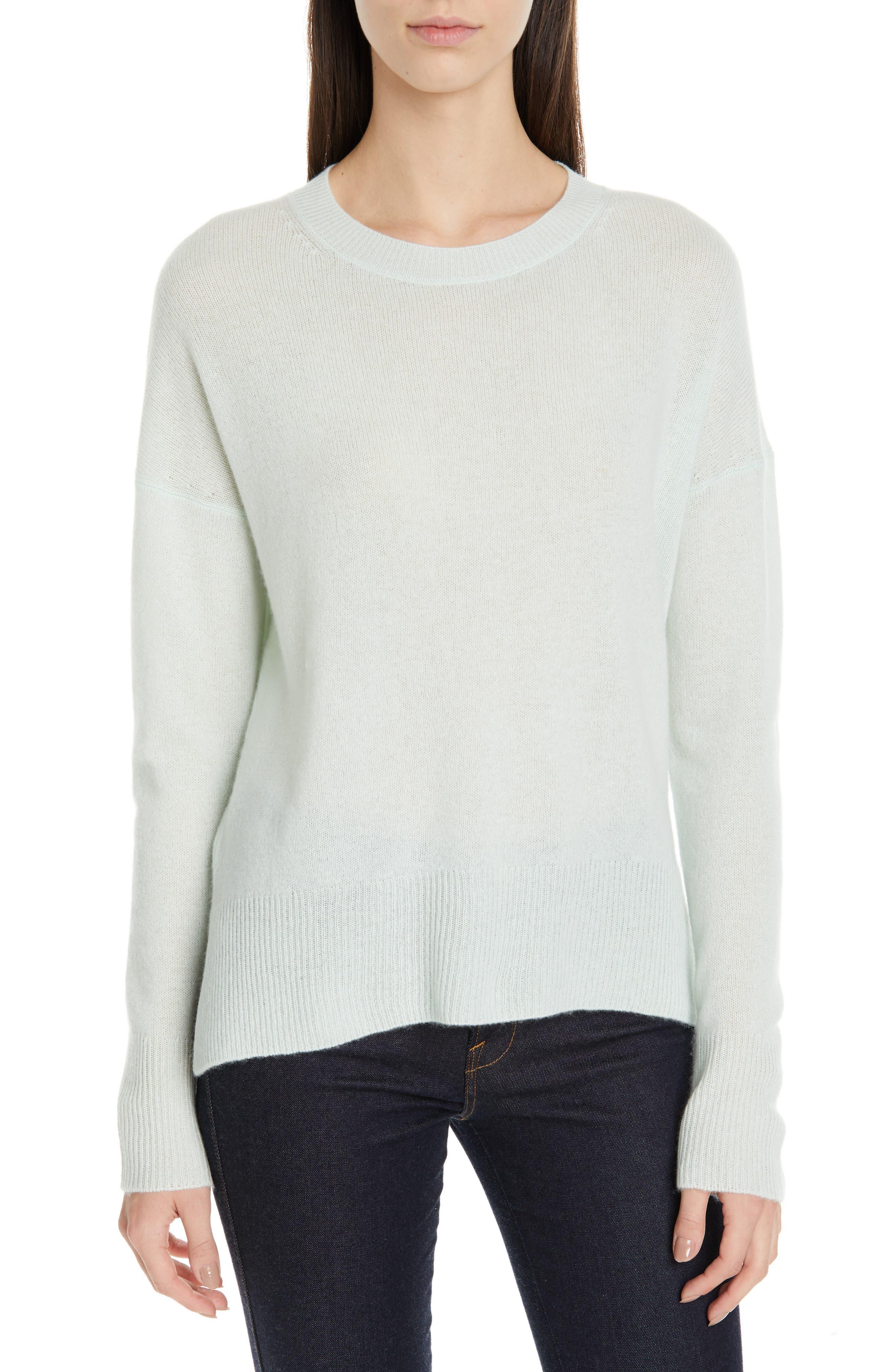 ,                             Karenia Long Sleeve Cashmere Sweater,                             Main thumbnail 1, color,                             OPAL GREEN