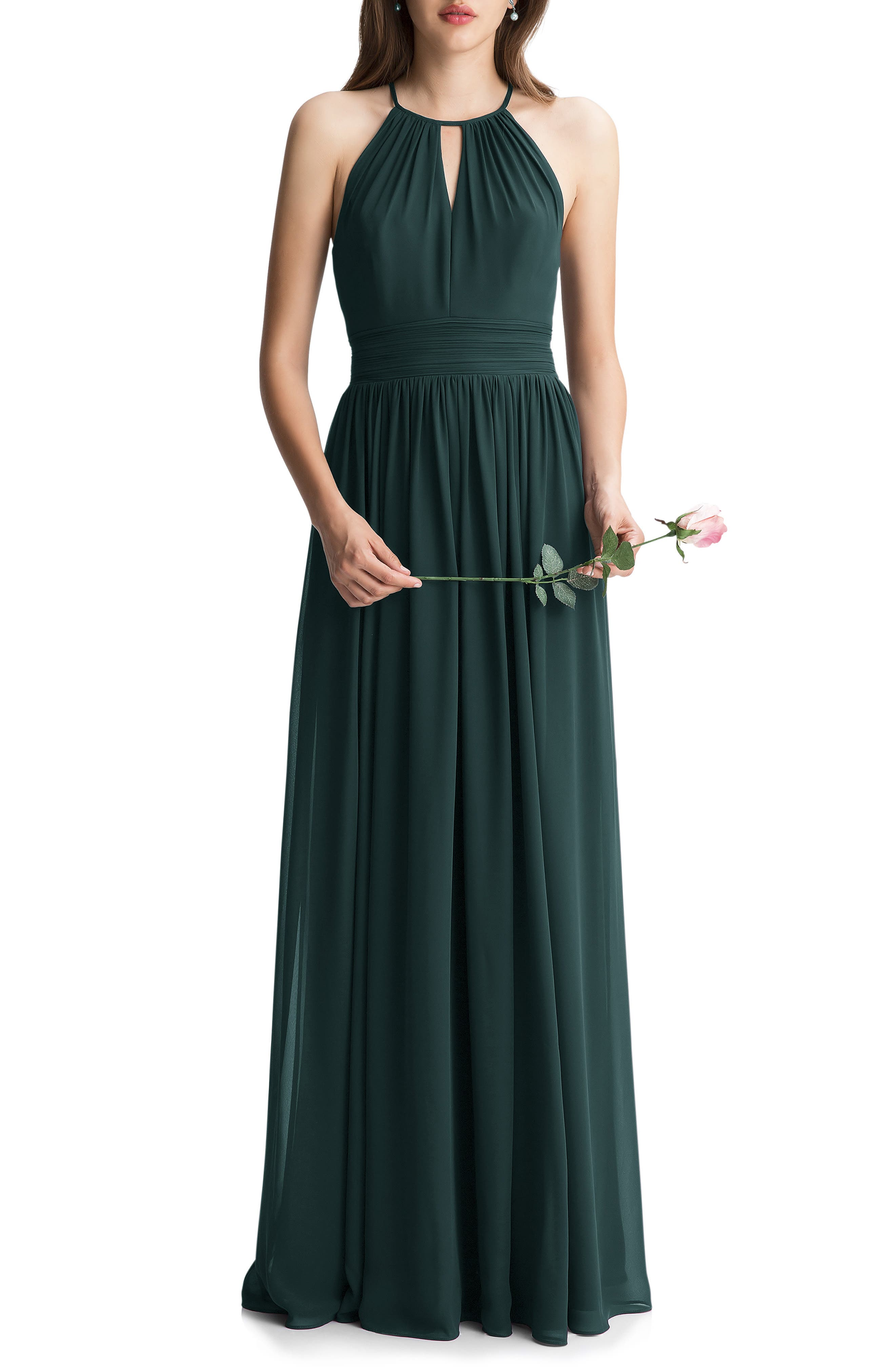 The picture of romantic elegance, this gently gathered chiffon gown features slim keyholes in front and back that complement the shoulder-baring cut. Attractive ruching defines your waist and the flattering A-line skirt flows dreamily to the floor. Style Name:#levkoff Keyhole Neck Chiffon A-Line Gown. Style Number: 5342442. Available in stores.