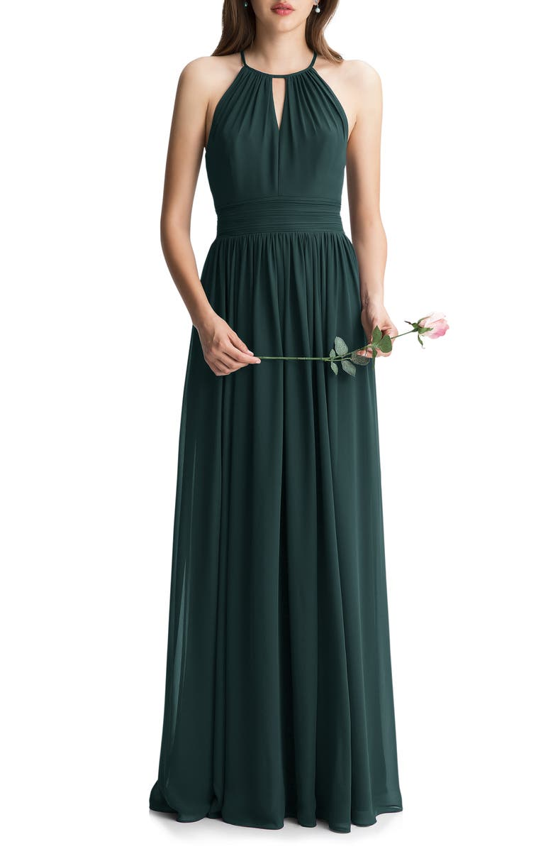 #LEVKOFF Keyhole Chiffon A-Line Gown, Main, color, EVERGREEN