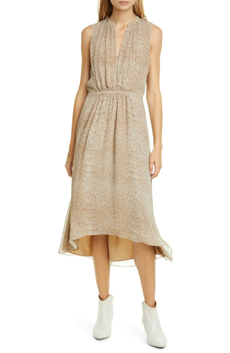 JOIE Hilarie Snake Print Silk Georgette Dress, Main, color, 230