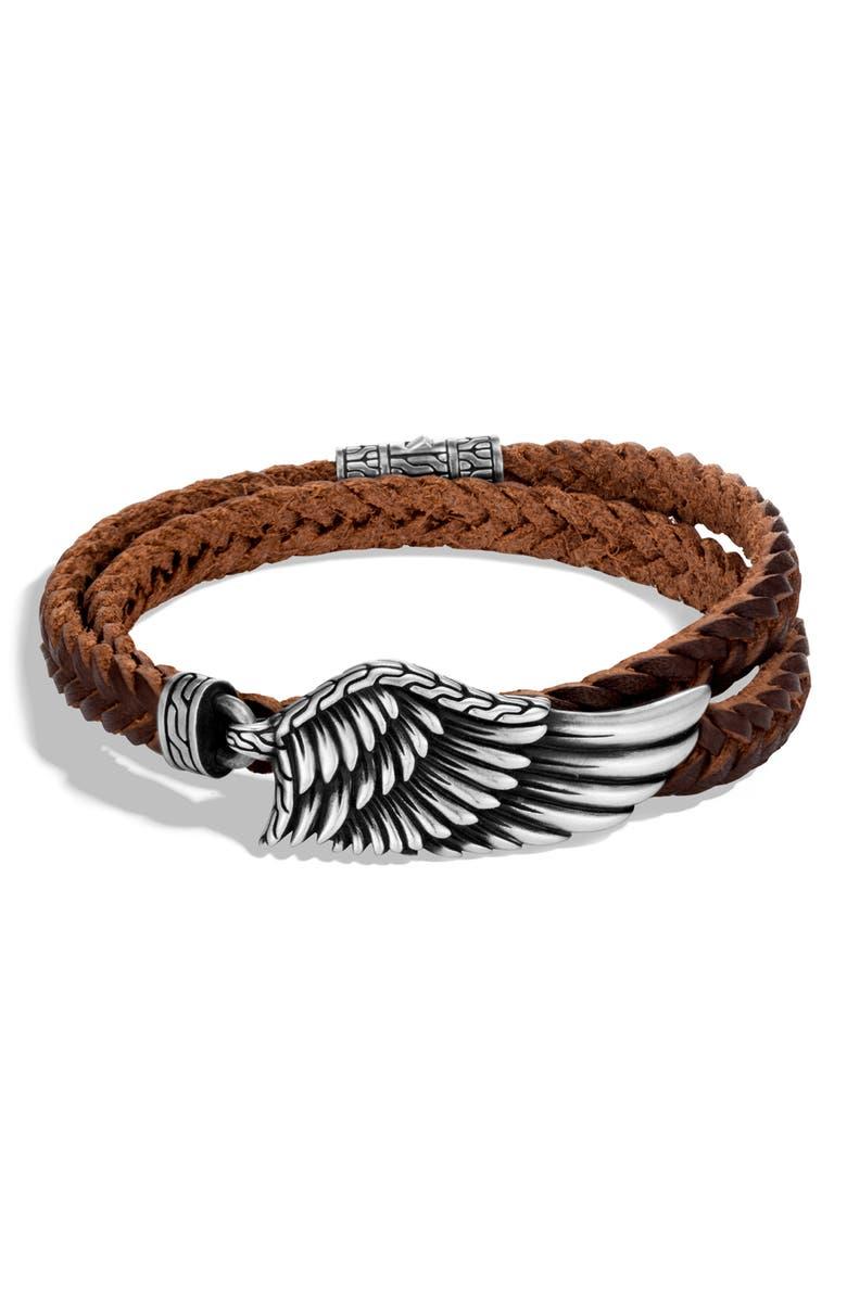 JOHN HARDY Men's Legends Eagle Double Wrap Bracelet, Main, color, SILVER/ LEATHER