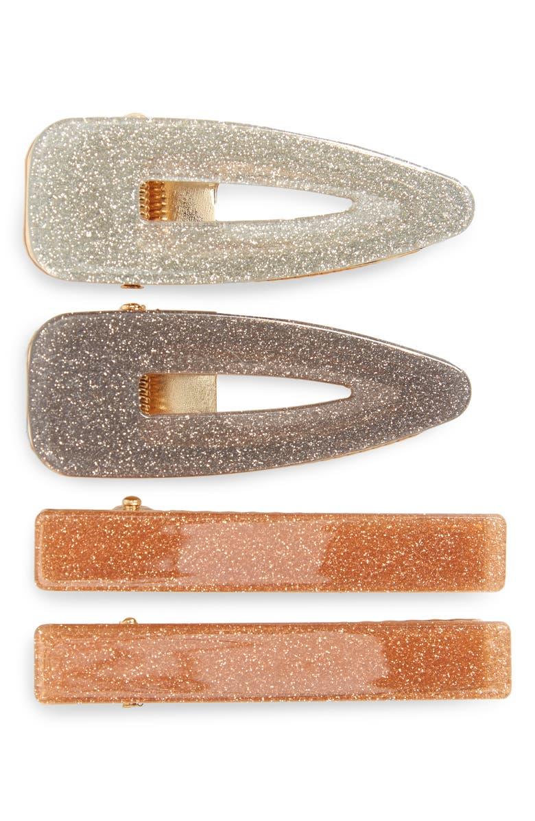 TASHA 4-Pack Glitter Hair Clips, Main, color, SILVER/GUN