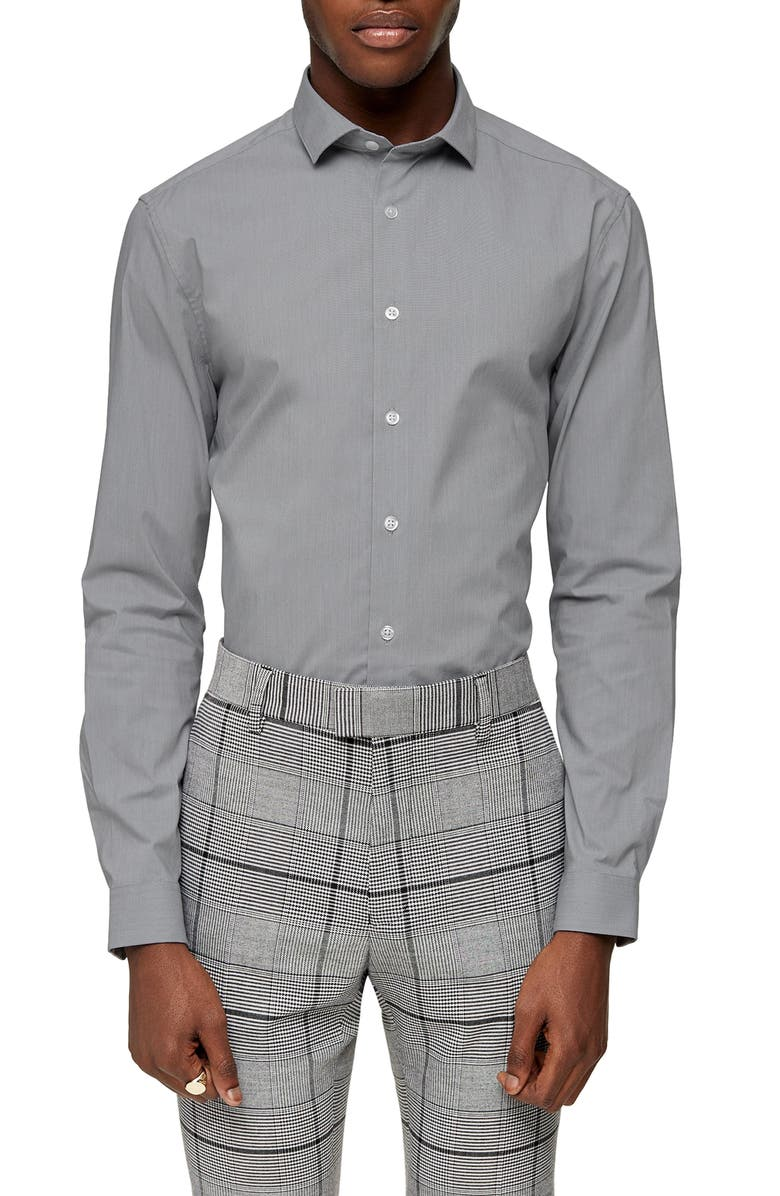 TOPMAN Stretch Fit Button-Up Shirt, Main, color, 020