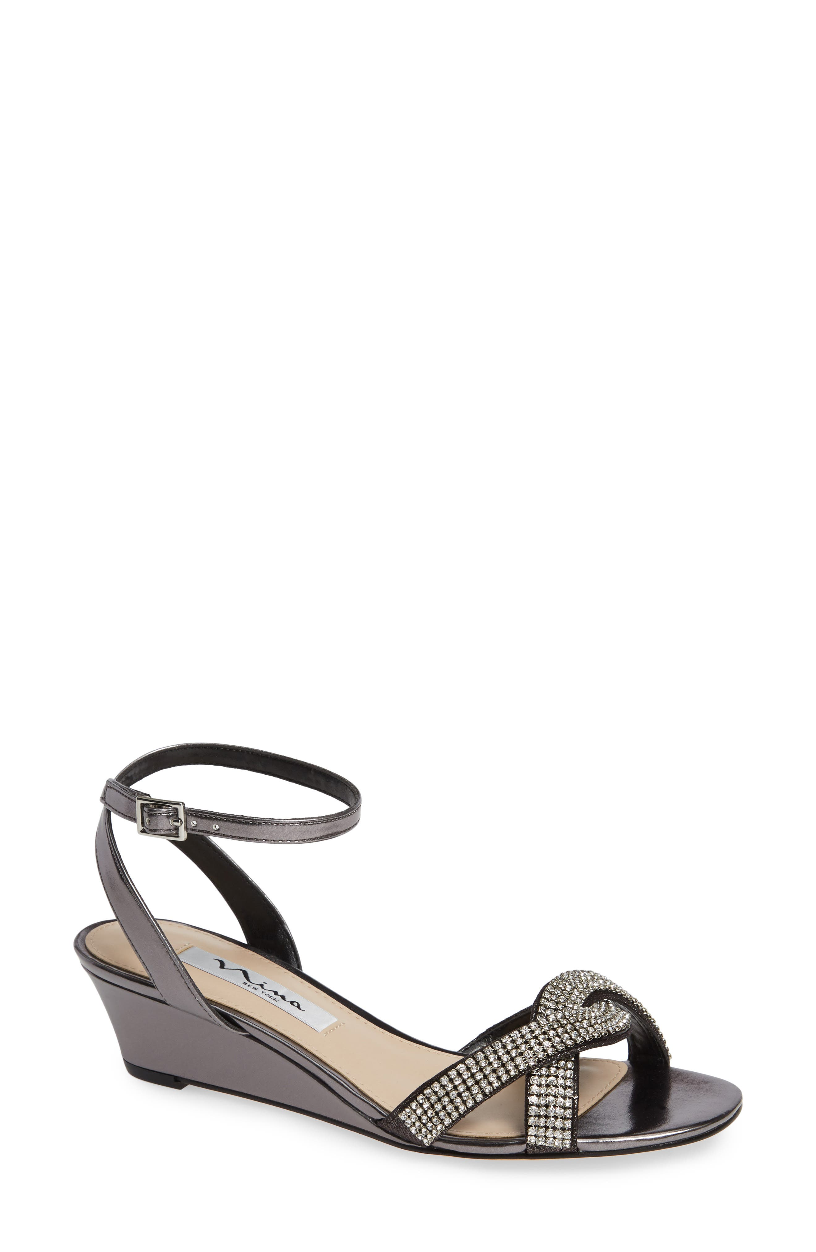 ,                             Florina Crystal Embellished Wedge Sandal,                             Main thumbnail 1, color,                             METALLIC GUNMETAL