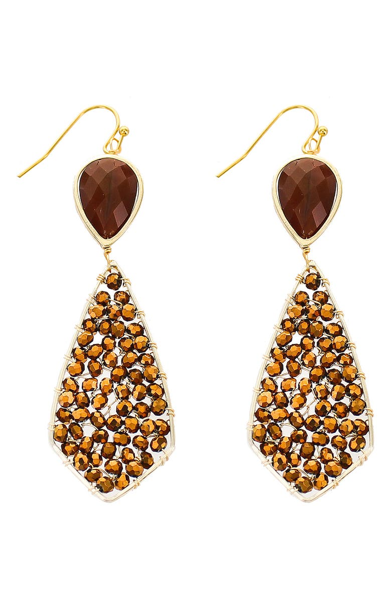 PANACEA Beaded Drop Earrings, Main, color, BURGUNDY