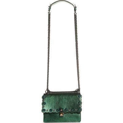 Fendi Small Kan I Metallic Leather Shoulder Bag - Green