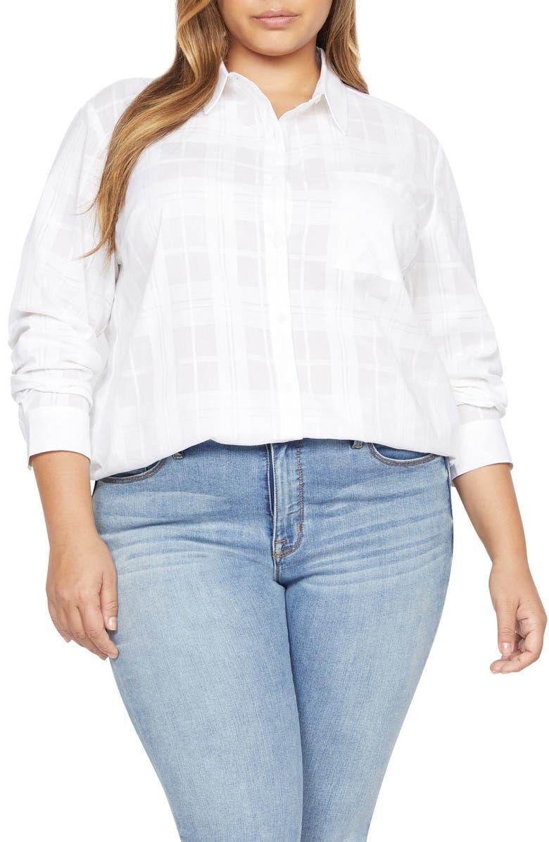 SANCTUARY Keepers Boyfriend Button-Up Shirt, Main, color, WHITE JASMINE PLAID
