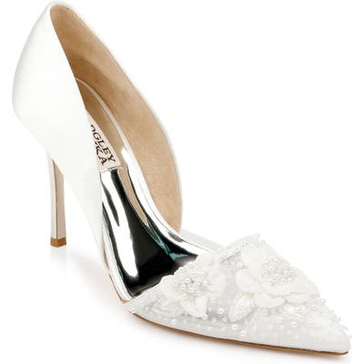 Badgley Mischka Ophelia Beaded Floral Pointed Toe Pump- White