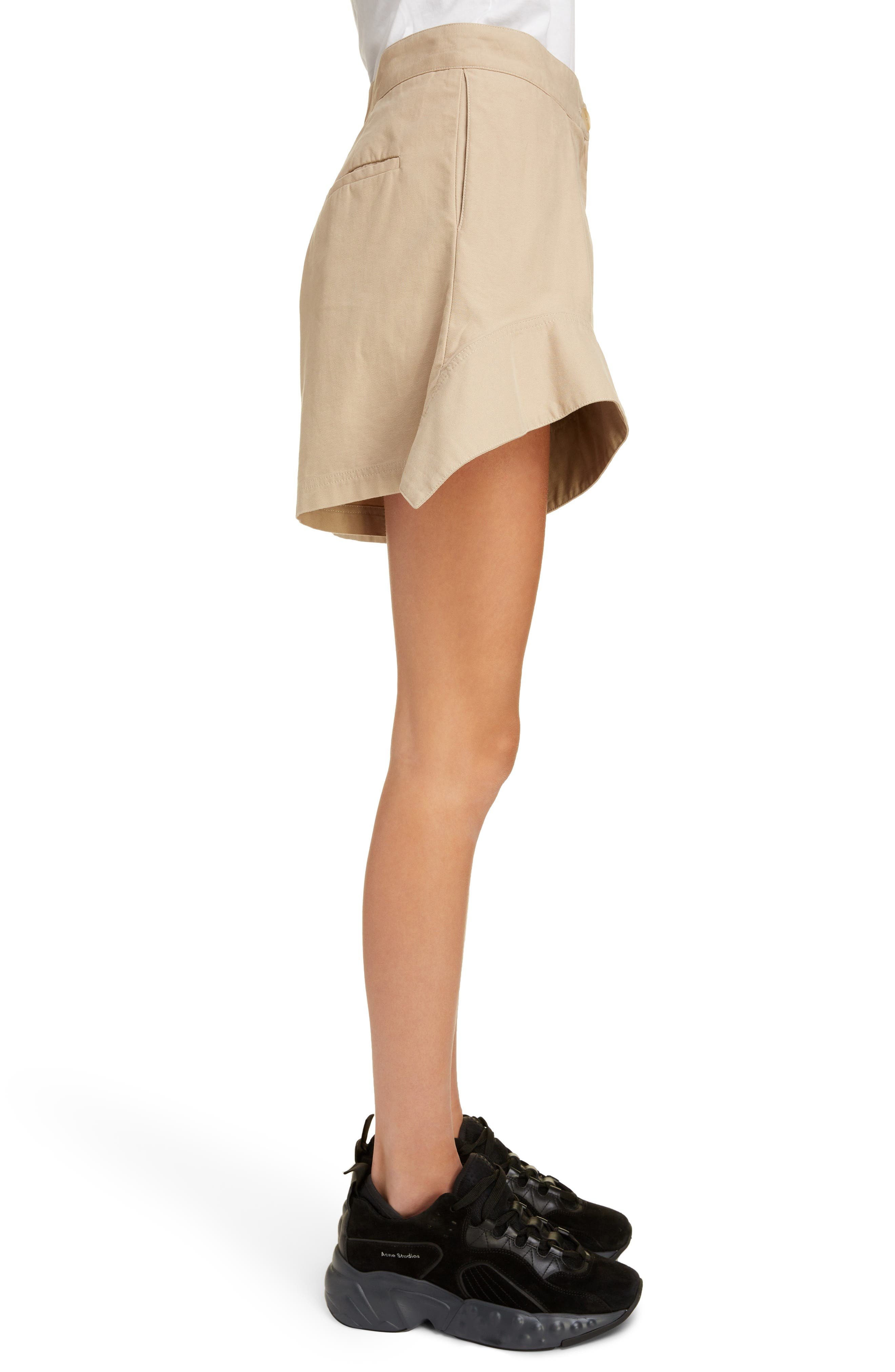 ,                             Curved Hem Chino Shorts,                             Alternate thumbnail 3, color,                             FLAX