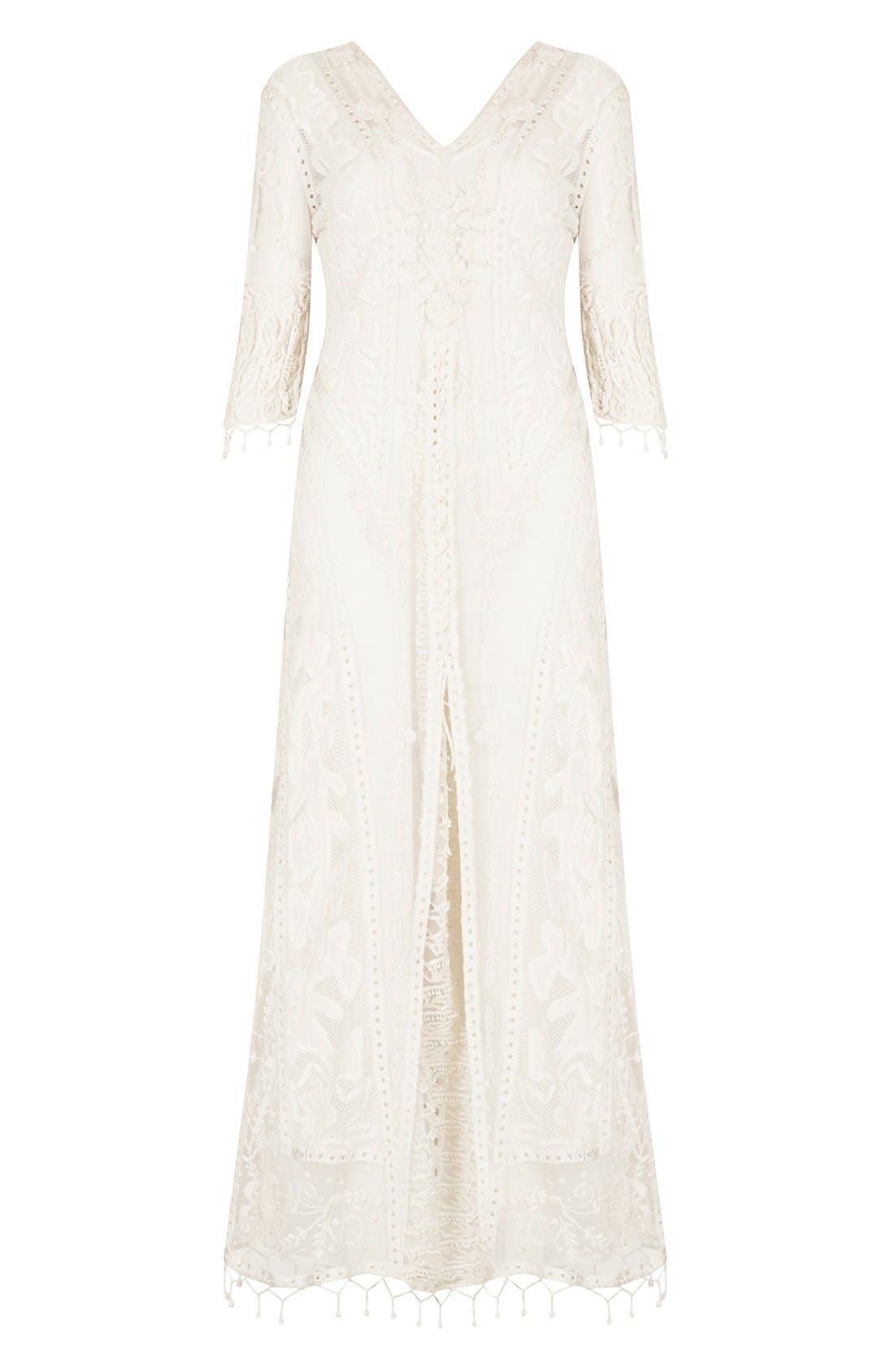 ,                             Kate Moss for Topshop Crochet Lace Maxi Dress,                             Alternate thumbnail 4, color,                             101