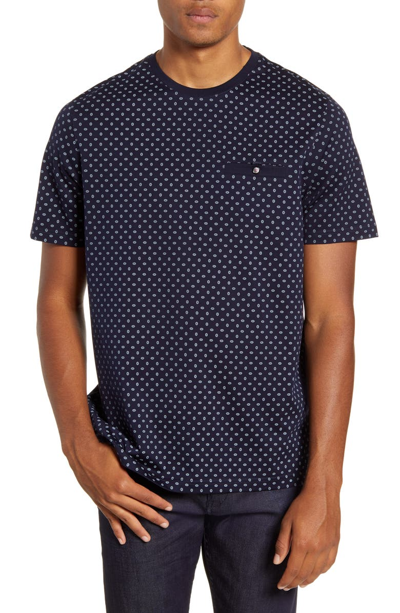 TED BAKER LONDON Geometric Print Cotton Crewneck T-Shirt, Main, color, NAVY