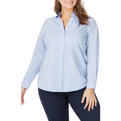 Plus Size Foxcroft Chrissy Non-Iron Shirt, Blue
