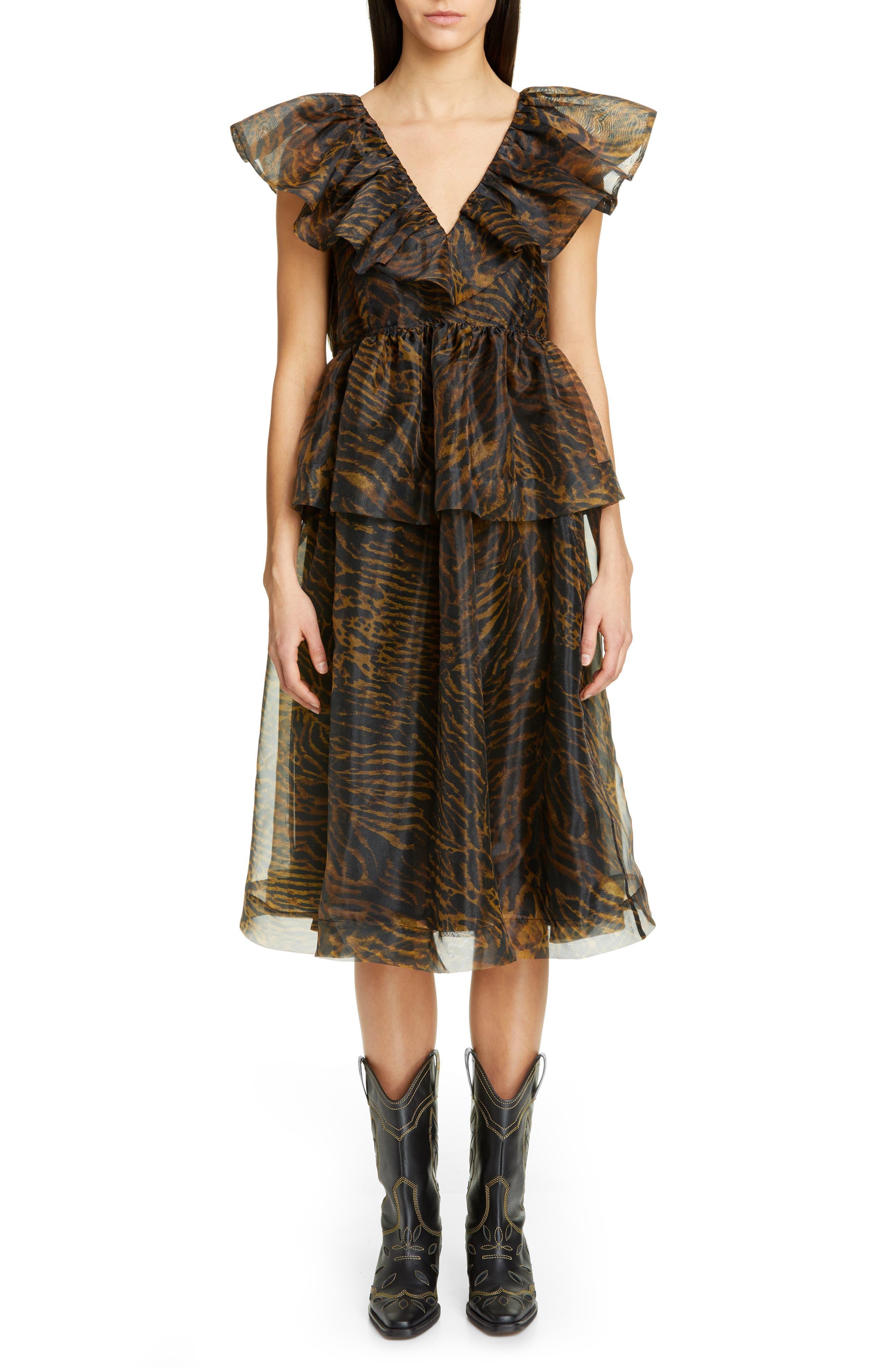 Ganni Tiger Print Organza Midi Dress, Brown