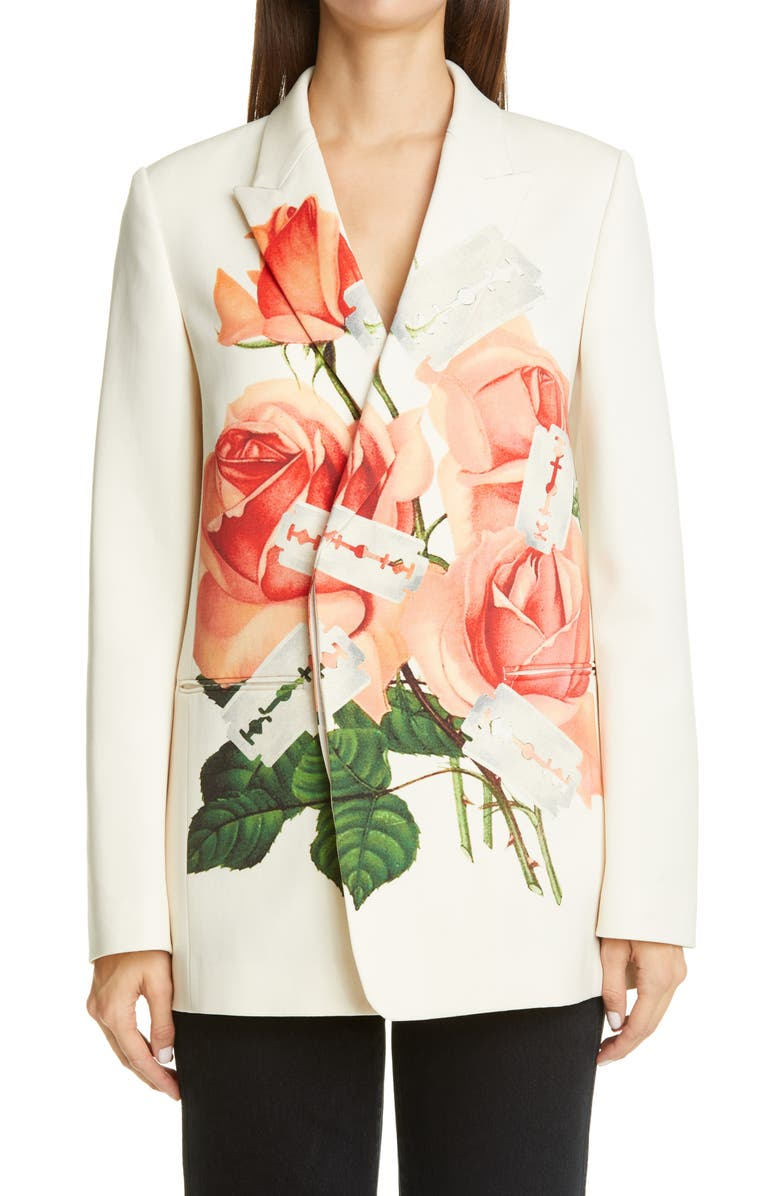 UNDERCOVER Rose Print Wool Blazer, Main, color, OFF WHITE