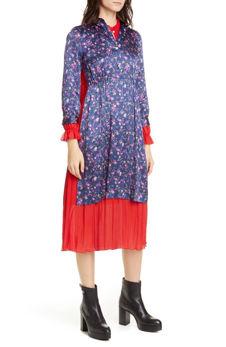 JUNYA WATANABE Layered Mixed Media Long Sleeve Midi Dress, Main, color, 400