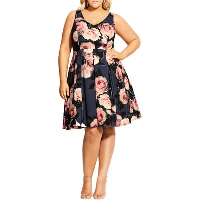 Plus Size City Chic Love Is Sweet Fit & Flare Dress, Black