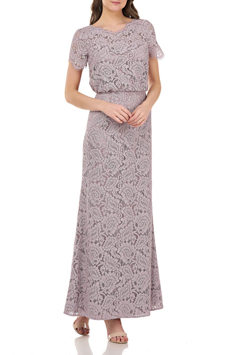 JS COLLECTIONS Blouson Lace Gown, Main, color, TAUPE