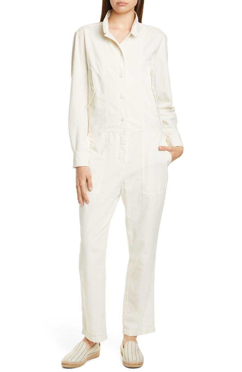 RAG & BONE Morris Long Sleeve Cotton Jumpsuit, Main, color, IVORY