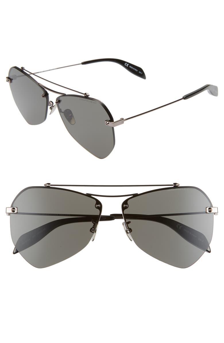 ALEXANDER MCQUEEN 61mm Aviator Sunglasses, Main, color, RUTHENIUM