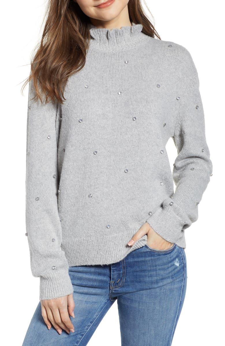 HINGE Embellished Ruffle Neck Sweater, Main, color, 050