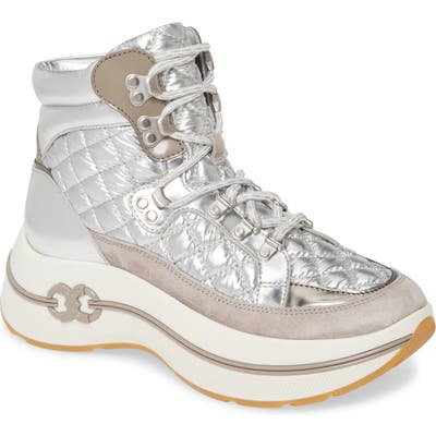 Tory Burch Gemini Link Quilted Hiking Boot, Metallic