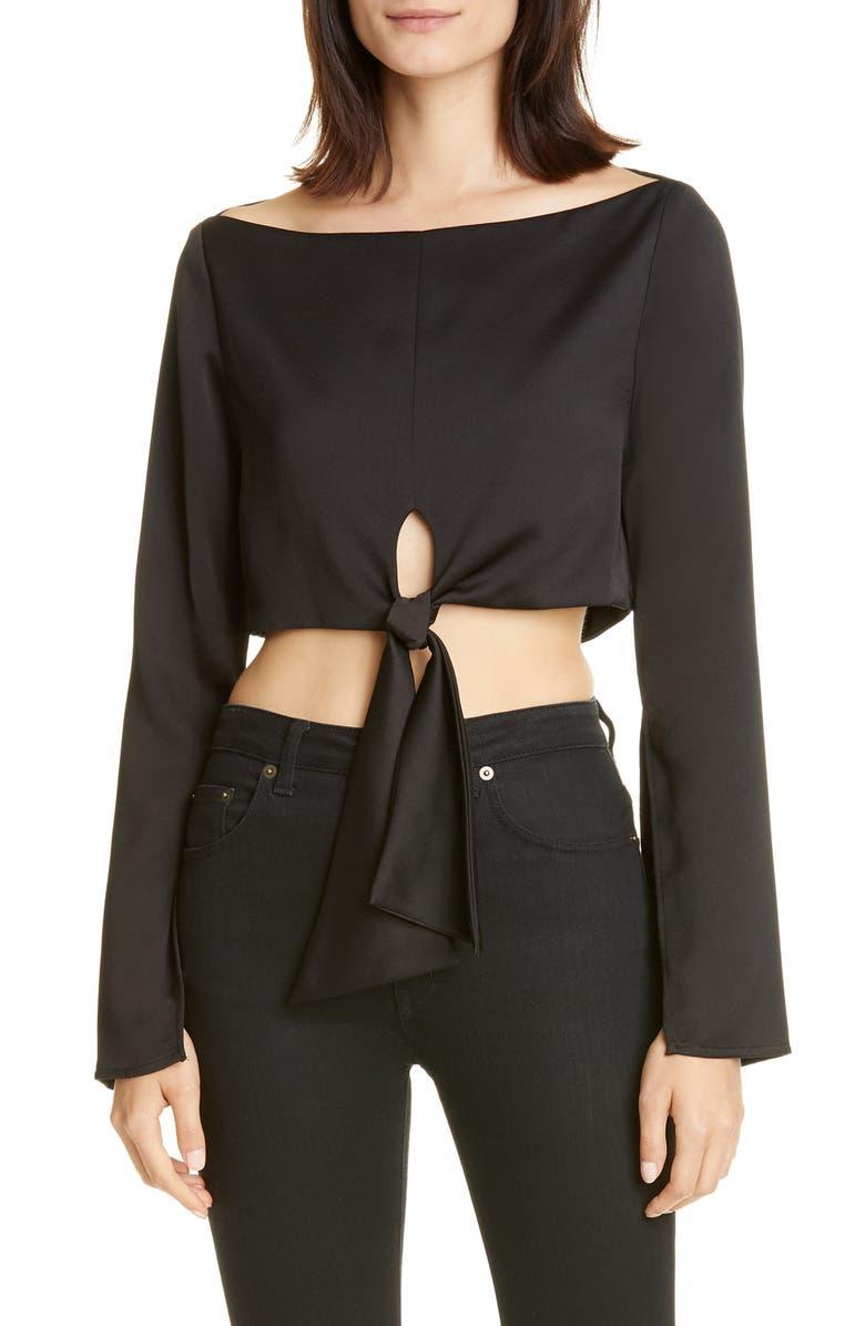 CULT GAIA Anya Tie Front Satin Crop Top, Main, color, BLACK