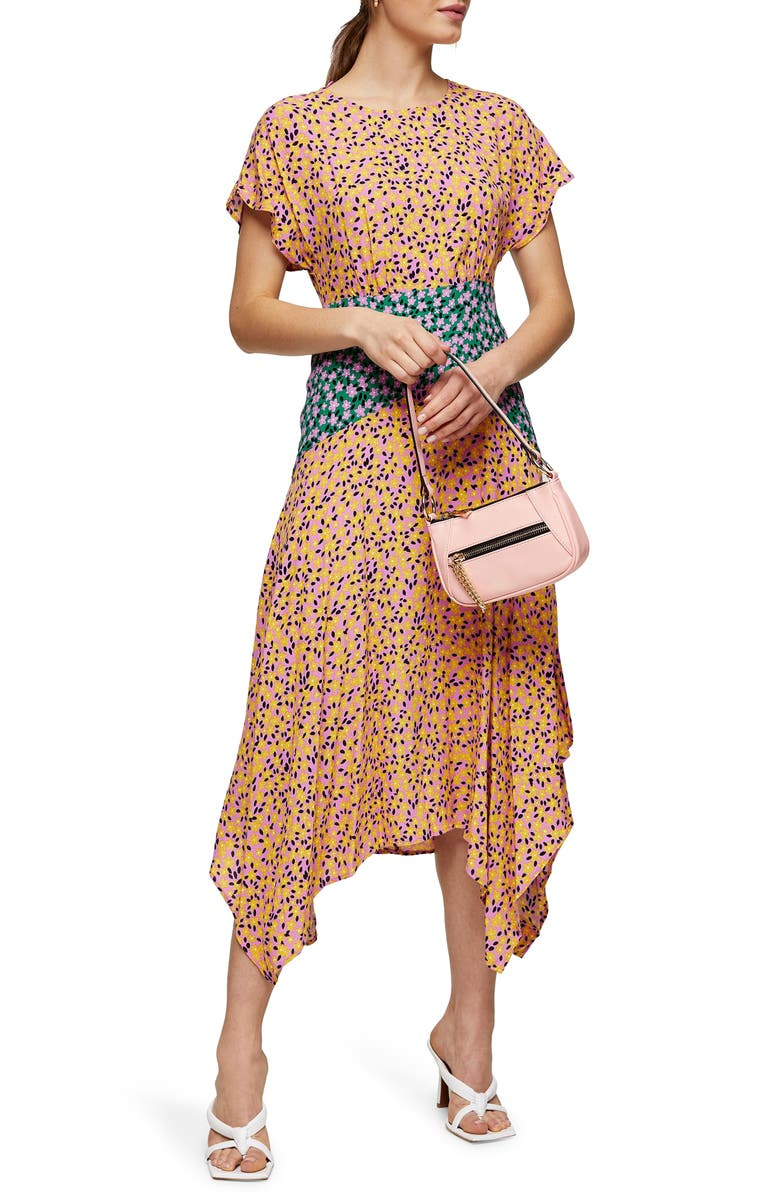 TOPSHOP Floral Print Short Sleeve Midi Dress, Main, color, ORANGE MULTI
