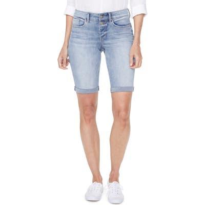 Nydj Briella High Waist Two-Button Roll Cuff Denim Shorts, Blue