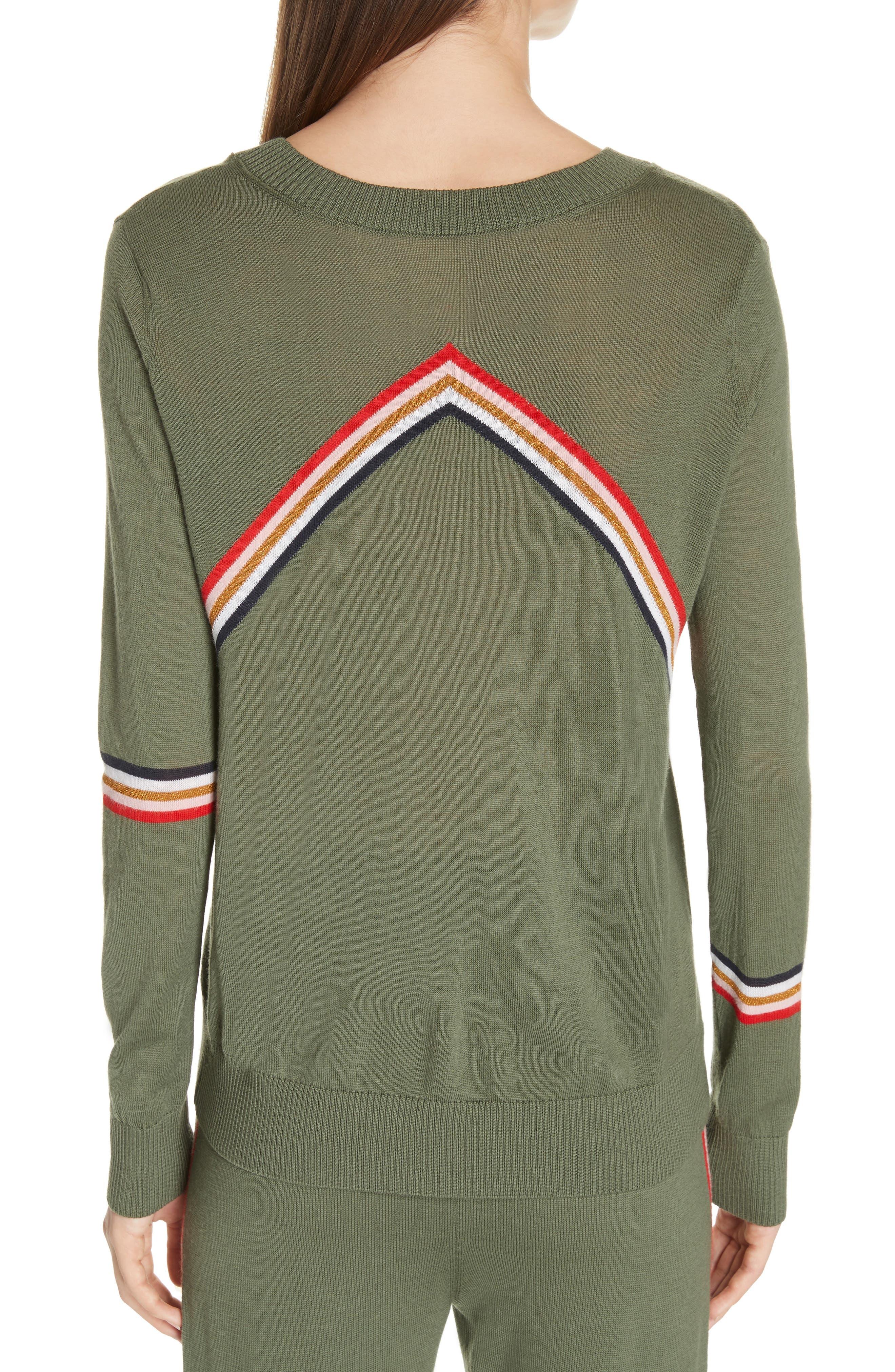 ,                             Chevron Stripe Sweater,                             Alternate thumbnail 2, color,                             KHAKI