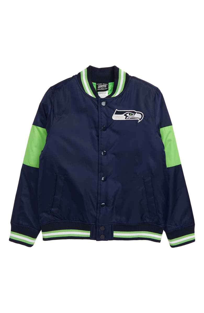 OUTERSTUFF NFL Logo Seattle Seahawks Throwback Varsity Jacket, Main, color, COLLEGE NAVY