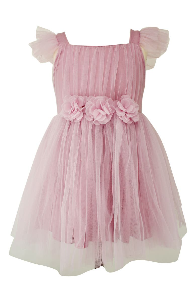 POPATU Flutter Sleeve Tulle Dress, Main, color, DUSTY PINK