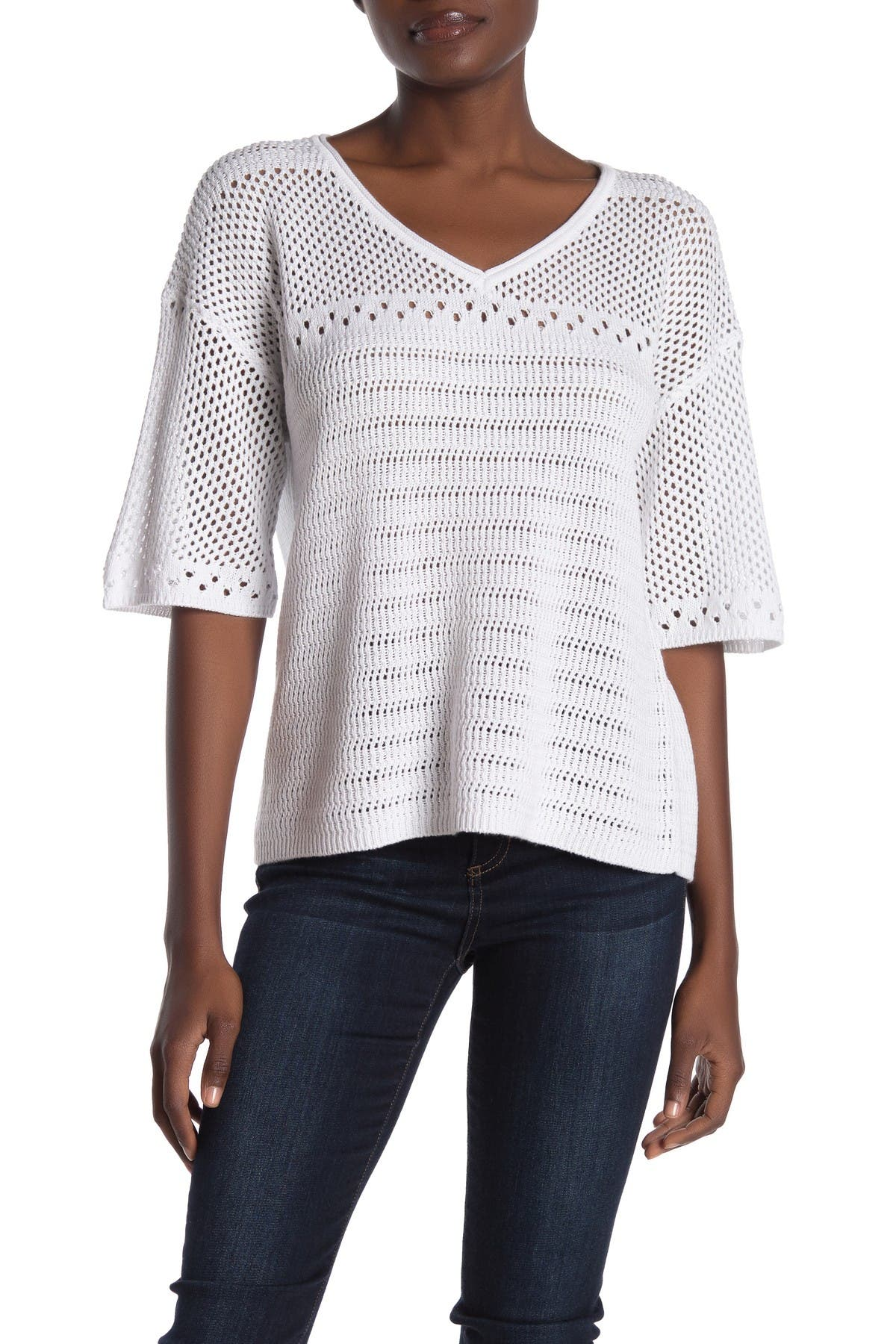 Image of Michael Stars Lexi Open Knit V-Neck Top