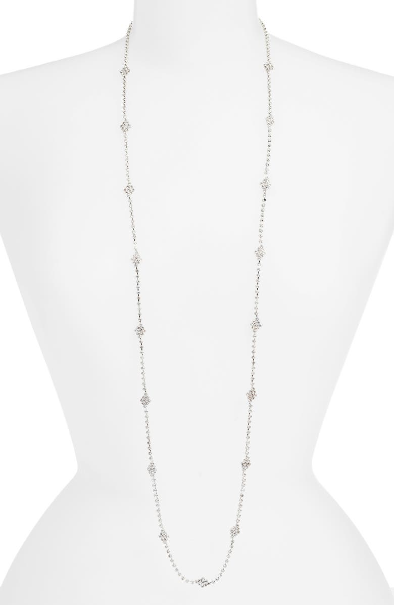 CRISTABELLE Crystal Pavé Station Necklace, Main, color, CRYSTAL/ SILVER