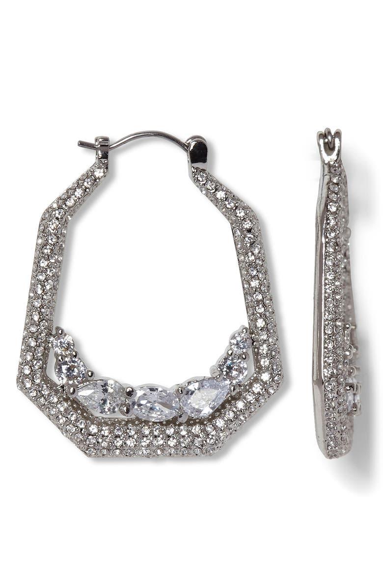 VINCE CAMUTO Pavé Crystal Hoop Earrings, Main, color, SILVER