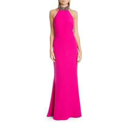 Badgley Mischka Embellished Halter Trumpet Gown, Pink