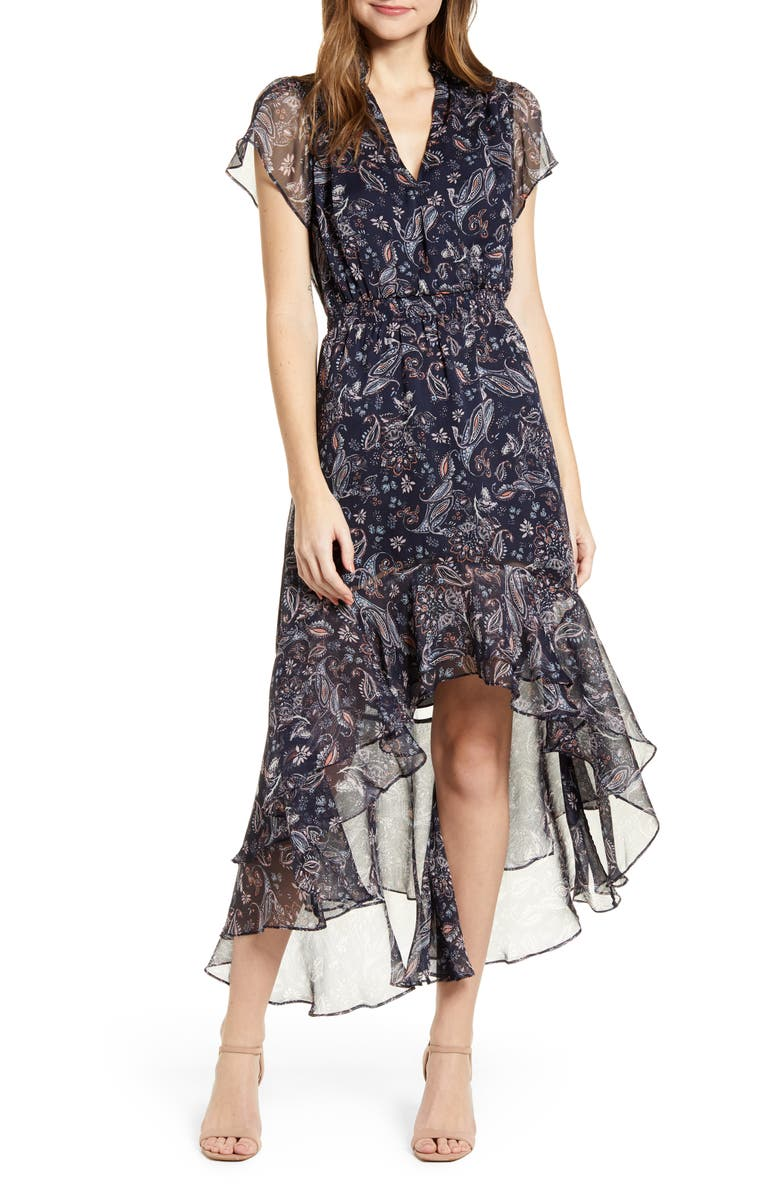 1.STATE Lyrical Paisley Tiered Ruffle Midi Dress, Main, color, BLUNGTMULTI